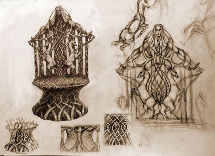 Elvish Throne. Concept art for Thranduil's throne room by tristan-haohao on DeviantArt.