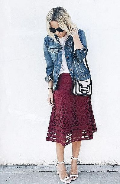 A Colorful Midi Skirt, White Top, and Jean Jacket