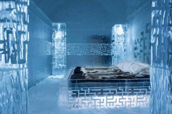 In Svezia Ha Aperto Il Primo Hotel Di Ghiaccio Che Non Si Scioglie Mai:L'Icehotel 365 si trova a poco più di 200 km dal circolo polare artico.L'interno è Un Paradiso