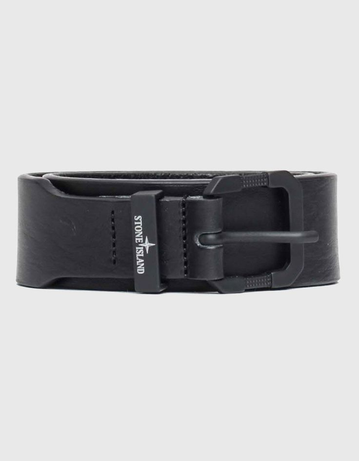 Stone Island Junior Leather belt Black | Accent Clothing