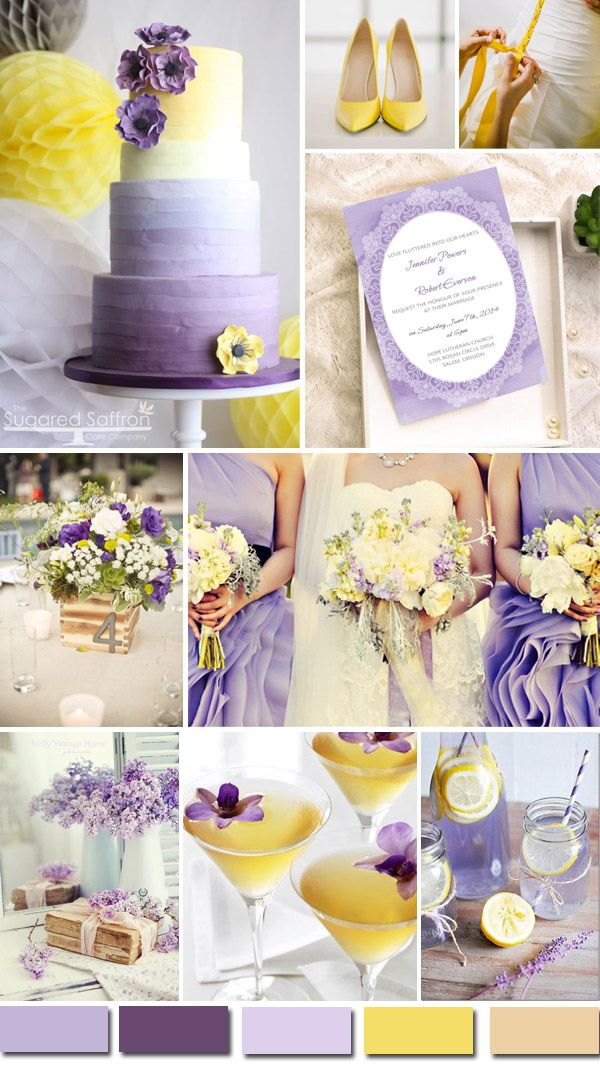 light purple and bright yellow wedding ideas