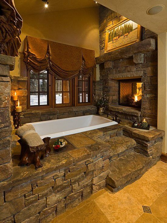 Rustic Master Bathroom with M rock screws manufactured stone - ledge stone, Master bathroom, flush light, High ceiling