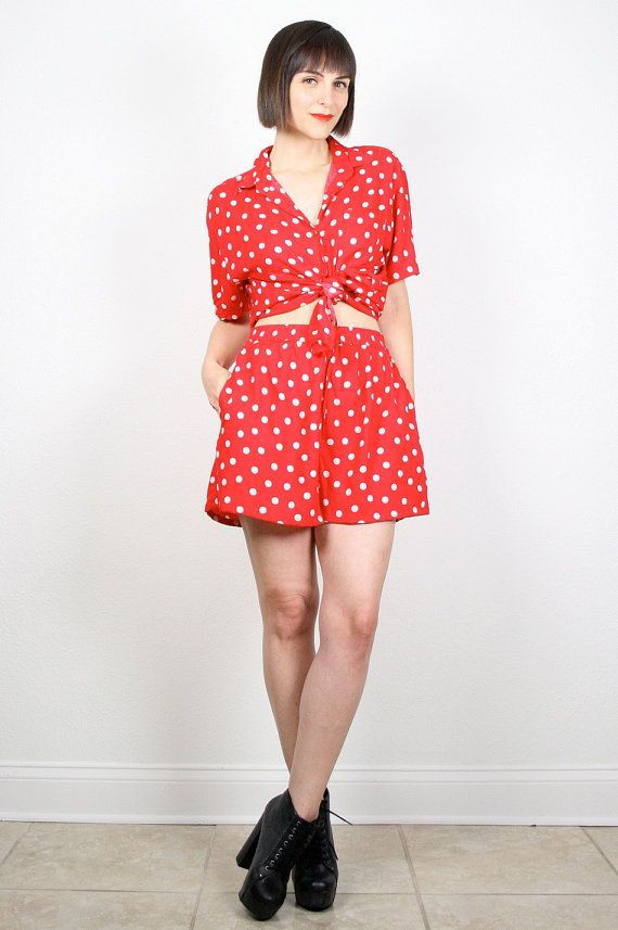 Vintage 80s Outfit Red White Polka Dot Two Piece Set High