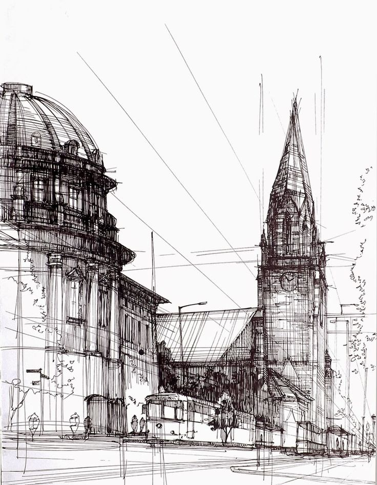 Architectural Drawings of Historic Buildings mostly based in and around Poznan, in Poland. #drawing work by Łukasz Gać. More information and more images from this Artist, Press the Image.