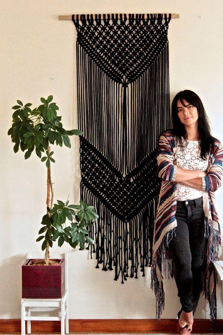 DIY Craft: Macrame wall hanging Black Tapestry Weaving Macrame | Etsy