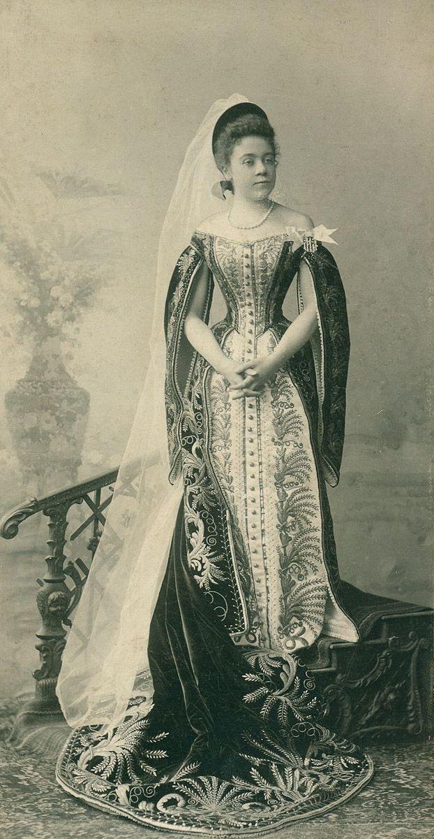 Ladie-in-waiting Maria Tolstaya in court dresses