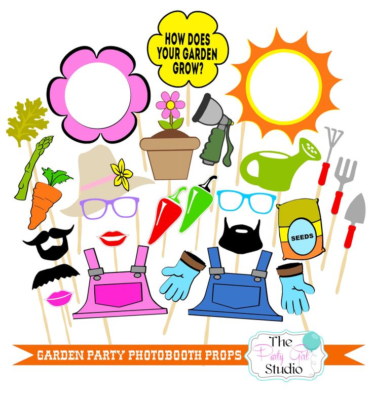 24pc * Garden Party Photo Booth Props/Gardening Party/Photobooth Props - DIGITL FILE by ThePartyGirlStudio on Etsy