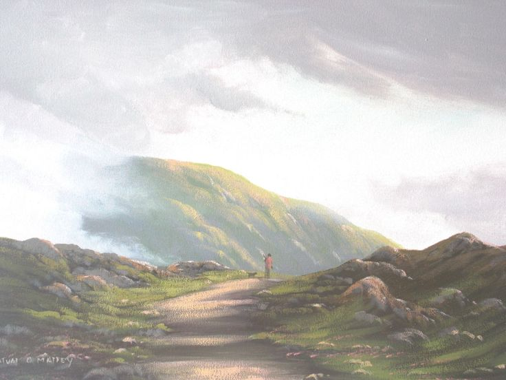 man and his dog - Painting,  2x24x18 in ©2014 by Cathal O Malley -                                                              Land Art, Canvas, Landscape, man, dog, mountains, connemara