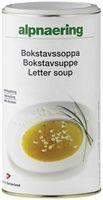 En smakfull buljongsuppe som fort blir hele familiens favoritt med sitt innhold av små og mettende pastabokstaver! Suppen er rask og enkel å tilberede, og inneholder kun 25 kcal. per dl.  Tilberedning  5 toppede ss (ca 80 g) røres ut i 1 l kaldt vann (ca 4 porsj.). Kokes opp under omrøring og la småkoke i  5 - 7 min.