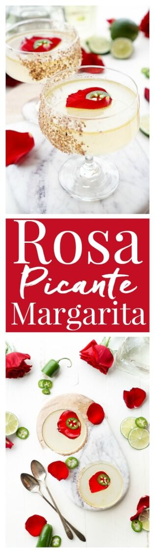 This Rosa Picante Margarita is the Patrón Margarita of the Year! Expertly crafted, artfully presented, and it tastes as smooth as it looks! A mix of tequila, lime juice, rosewater, ginger syrup, and jalapeno oil make for a refined spicy cocktail that will knock your socks off! via @sugarandsoulco