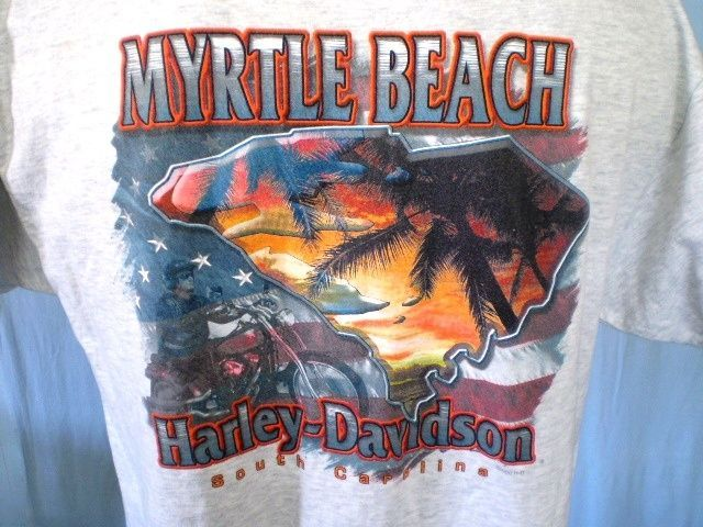 Harley-Davidson Gray XL Pocket T-Shirt Myrtle Beach South Carolina Cotton Blend #HarleyDavidson