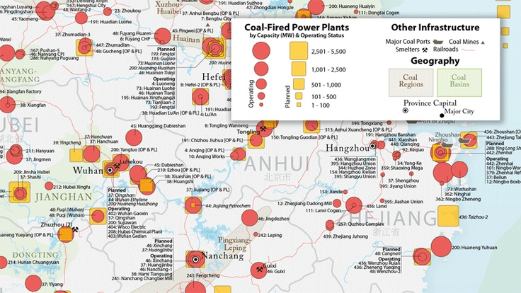 Map of China's coal-power generation (although not complete - needs to be purchased).