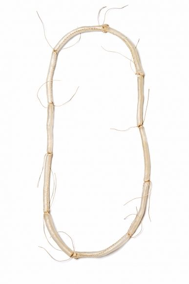 Agnes Larsson, necklace, hair jewelry - Remains 14, 2015, necklace, calf skin, thread, 16.5 x 7 x .5 inches