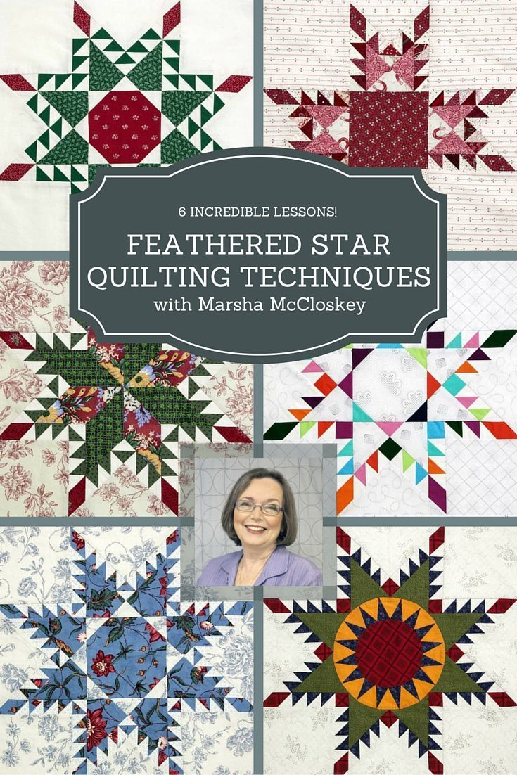 Love quilting? Feathered Star quilts are a must! Step-by-step instruction from Marsha McCloskey for making beautiful and intricate Feathered Star quilt blocks in this course from Craft U. Her expert instruction and precision piecing will have you crossing the Feathered Star quilt block off your bucket list in no time.