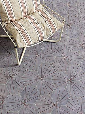 More stunning danish tiles - same pattern, different configuration Dandelion - lavender/aubergine