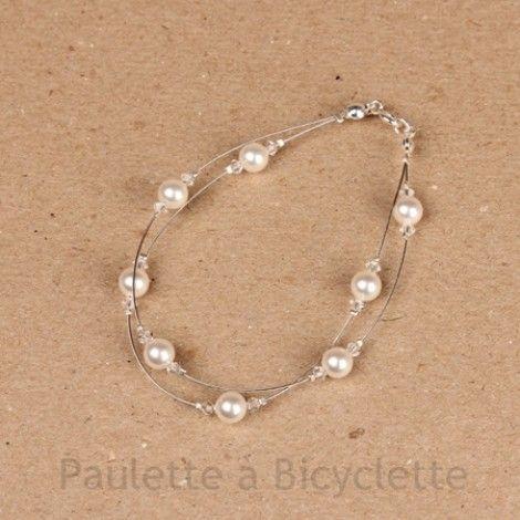 Bracelet mariage 2 rangs en perles nacrées et fil câblé «Evette»