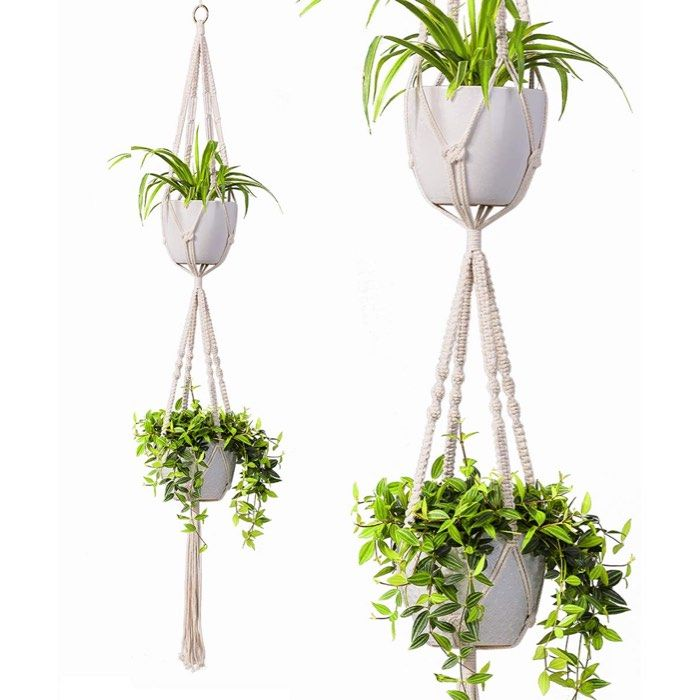 2 Tier Macrame Plant Hanger By Timeyard Hanging Planters Indoor Hanging Plants Hanging Plants Indoor