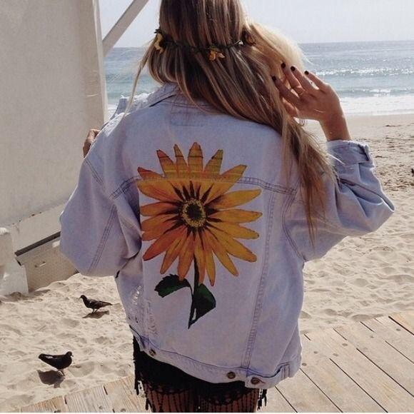 Lf Jeans ⚡️flash Sale⚡️ Lf Sunflower Jean Jacket Art