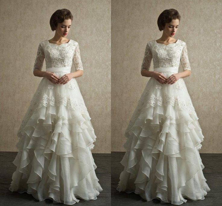Modest Beaded Lace Wedding Dress Ruffles Organza Bridal Gown Custom Size 4 6 8+