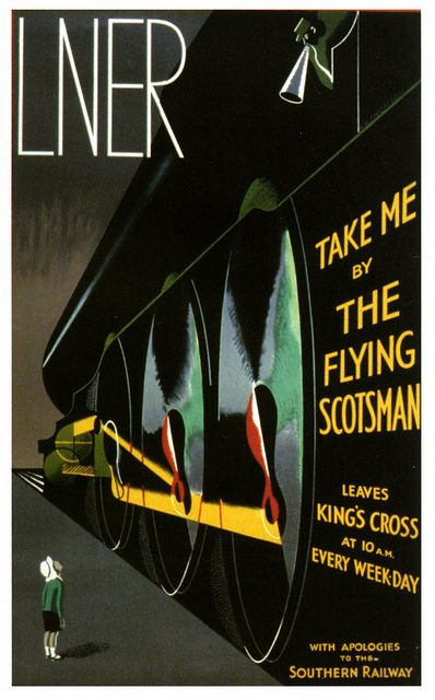 The Flying Scotsman (1920's poster by A. Thompson) really want to go for a long trip on an old steam train. I remembers watching this train pass through Rugby station!