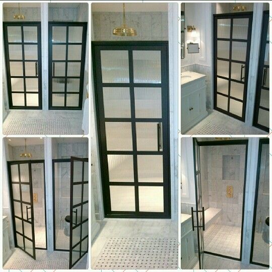 """Steel Framed"" Shower Doors with Black-Bronze anodized finish and reeded glass.    Gridscape TDL Series 1 by Coastal Shower Doors is a true divided light shower door with multiple glass panes organized in customizable patterns.                Project Name: Russell Hotel in London, Greater London.               For more information on industrial modern windowpane shower doors visit http://www.coastalshowerdoors.com"
