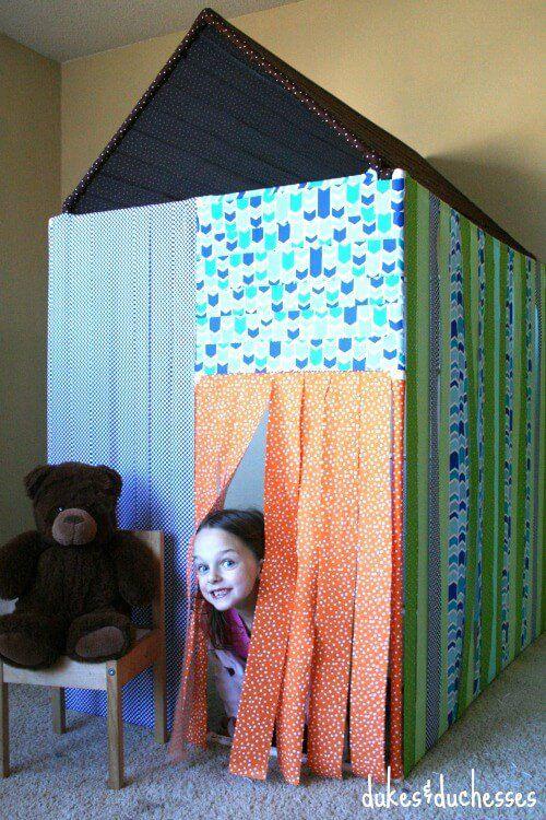homemade PVC pipe playhouse