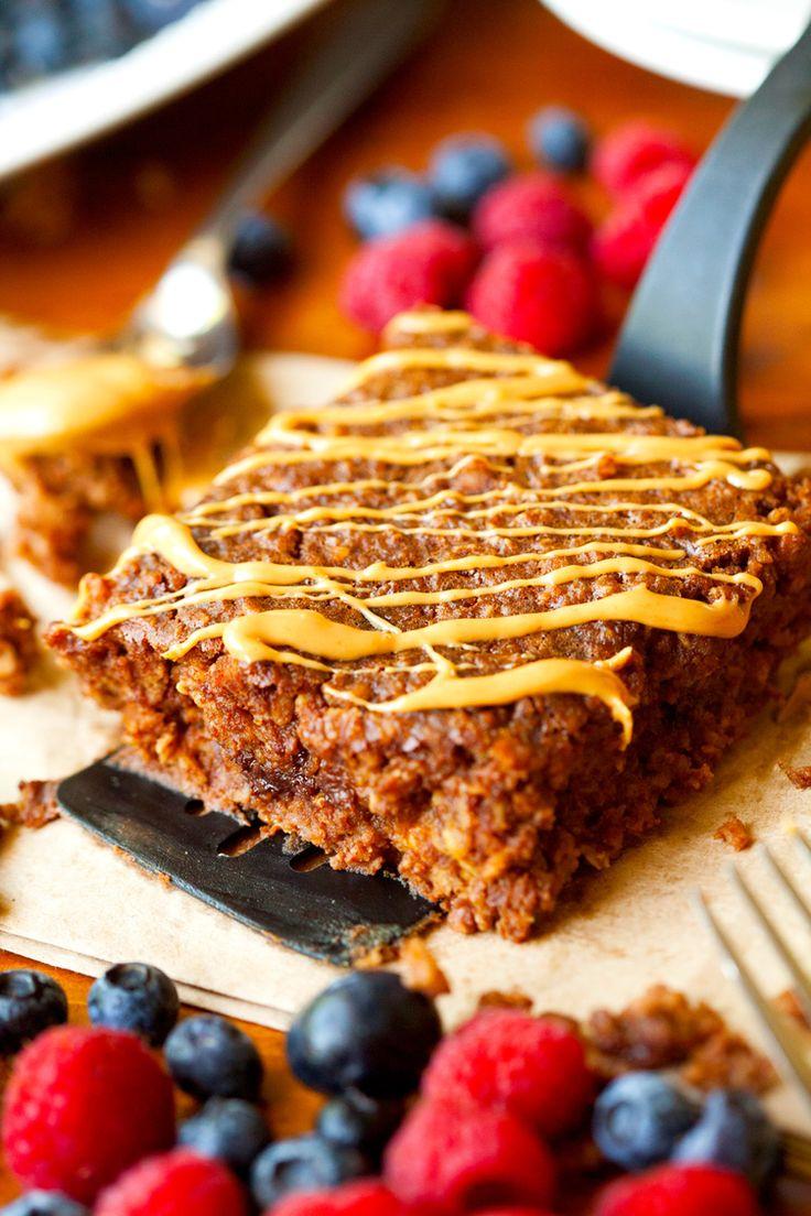 Healthy PB Cup Oatmeal #baked #breakfast #casserole http://greatist.com/eat/make-ahead-oatmeal-bakes