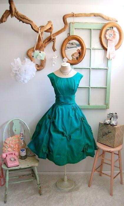Tourquoise vintage tea length dress