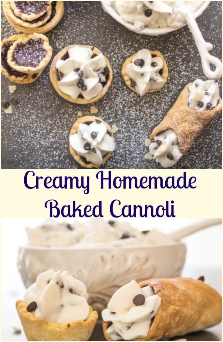 Creamy Homemade Baked Cannoli, a delicious Italian Dessert Recipe, with a creamy Ricotta, chocolate chip filling. A Classic Italian. via @https://it.pinterest.com/Italianinkitchn/