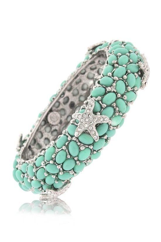 star fish turquoise bead silver ring