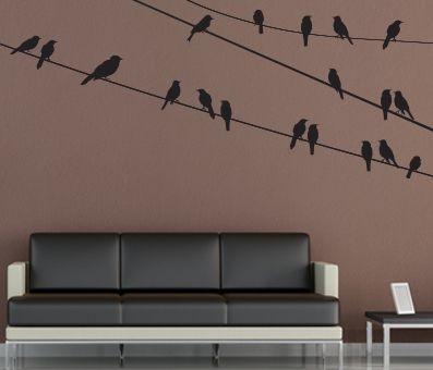VÄGGDEKOR fåglar på vajer