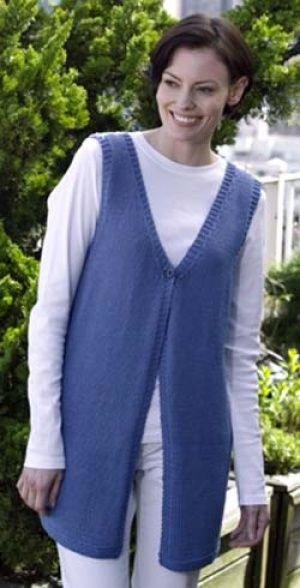 Image of Everyday Long Vest, knit from Lion Brand
