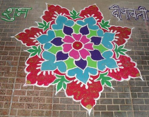 floral designs and shapes rangoli