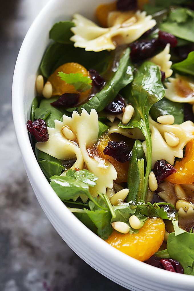 Mandarin Pasta Spinach Salad with Teriyaki Dressing - this salad is easy, quick, healthy, and tossed in the most addictive teriyaki vinaigrette dressing!