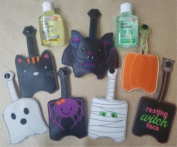 Bat Key Chain Hand Sanitizer Holder Halloween Key Fob Backpack