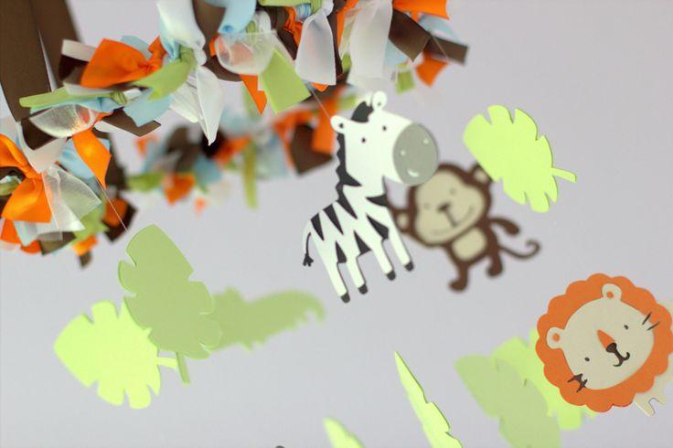 Jungle Animals Small Nursery Mobile - Nursery Decor,