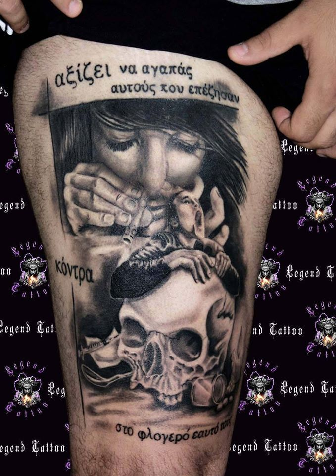 Grey Ink Girl Having Drugs And Skull Tattoo On Thigh