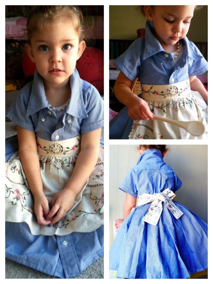 Little girl's dress made from two men's shirts, by Boutique Lele Fia https://www.facebook.com/LeleFia