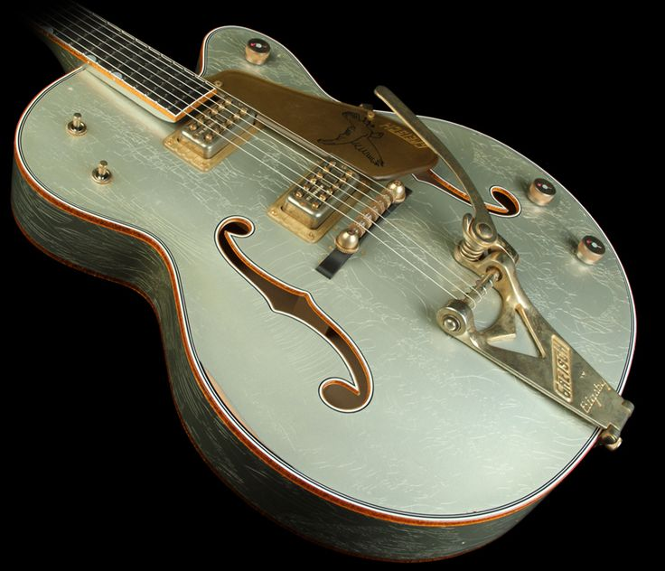 """Gretsch Custom Shop Masterbuilt Stephen Stern '59 Falcon in the coolest color ever: """"Inca Silver"""". WOW. Gorgeous."""