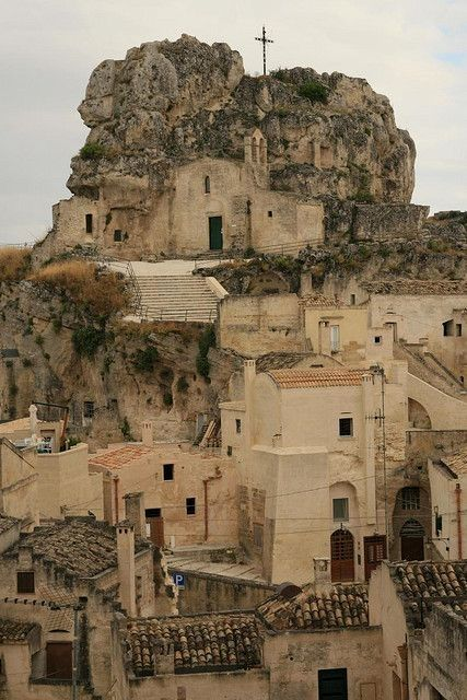"""Sassi di Matera"" - houses dug into the tuff rock #VisitingItaly"