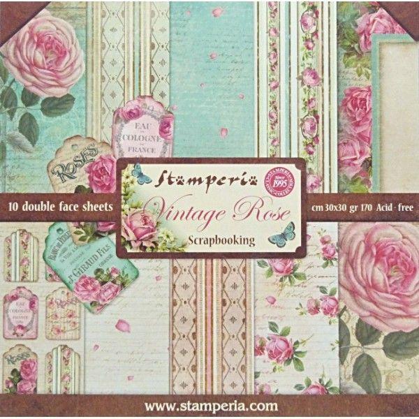 Stamperia  Vintage Rose 12x12 10 listů  228,- tvorilci