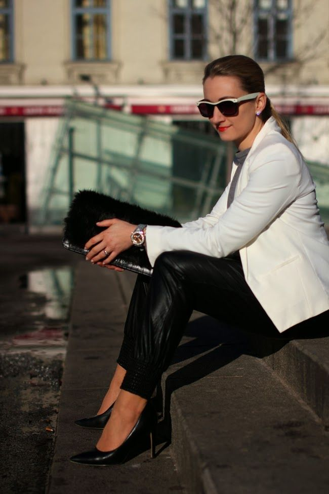 pants - Forever 21 / pullover - Vero Moda / blazer - Mango / pumps - Buffalo / clutch - Aldo / sunglasses, watch - no name / bracelet - Swarovski / earrings - vintage / ring - engagement ring
