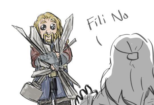 Oh Fili hon.... <- He looks so happy with his sharp things!! #Hobbit #Fili