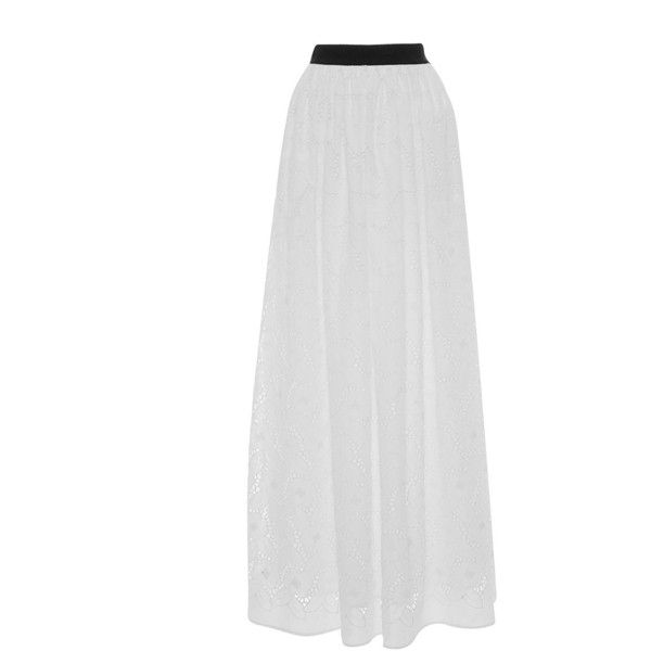 Blugirl     Eyelet Pleated Maxi Skirt ($590) ❤ liked on Polyvore featuring skirts, white, long white pleated skirt, high-waisted maxi skirt, long pleated skirt, high waist long maxi skirt and white pleated skirt