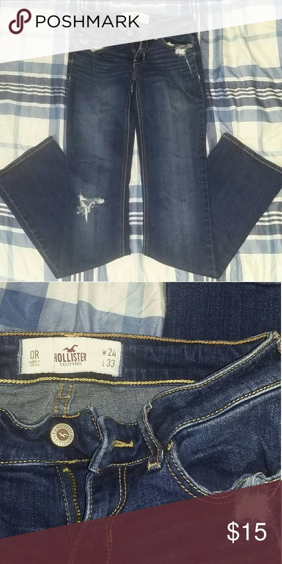 Hollister boot cut destroyed denim jeans Factory made destroyed hollister jeans..size 0R waist 24..33 inseam..great condition Hollister Jeans Boot Cut