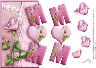 OVER THE SIDE MUM ROSE with decoupage on Craftsuprint designed by Janet Briggs - Pretty over the side card front with step by step decoupage, specially for Mum or Mom on her birthday or for Mother's Day.Simply fold an A4 card in half to make an A5 card.Stick the topper with the right edge of the letters butted up against the right edge of the card. Cut away the excess card around the letters, to make a shaped edge.Could also be used as an ordinary topper. - Now available for download!