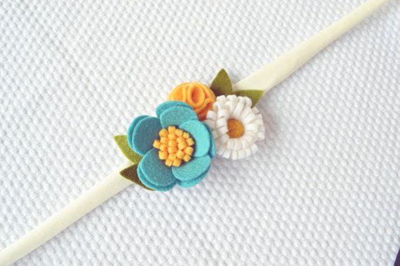 Felt Flower Headband/Wrist Corsage/Turquoise by CraftyCatgr