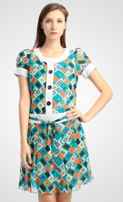 Devanya drees by Agatha. Geometric pattern print all over, with blue, orange, grey, white color, and puff sleeve, with white detail, button details, pair this geometric dress with your favorite chunky heels. http://zocko.it/LD4Ki