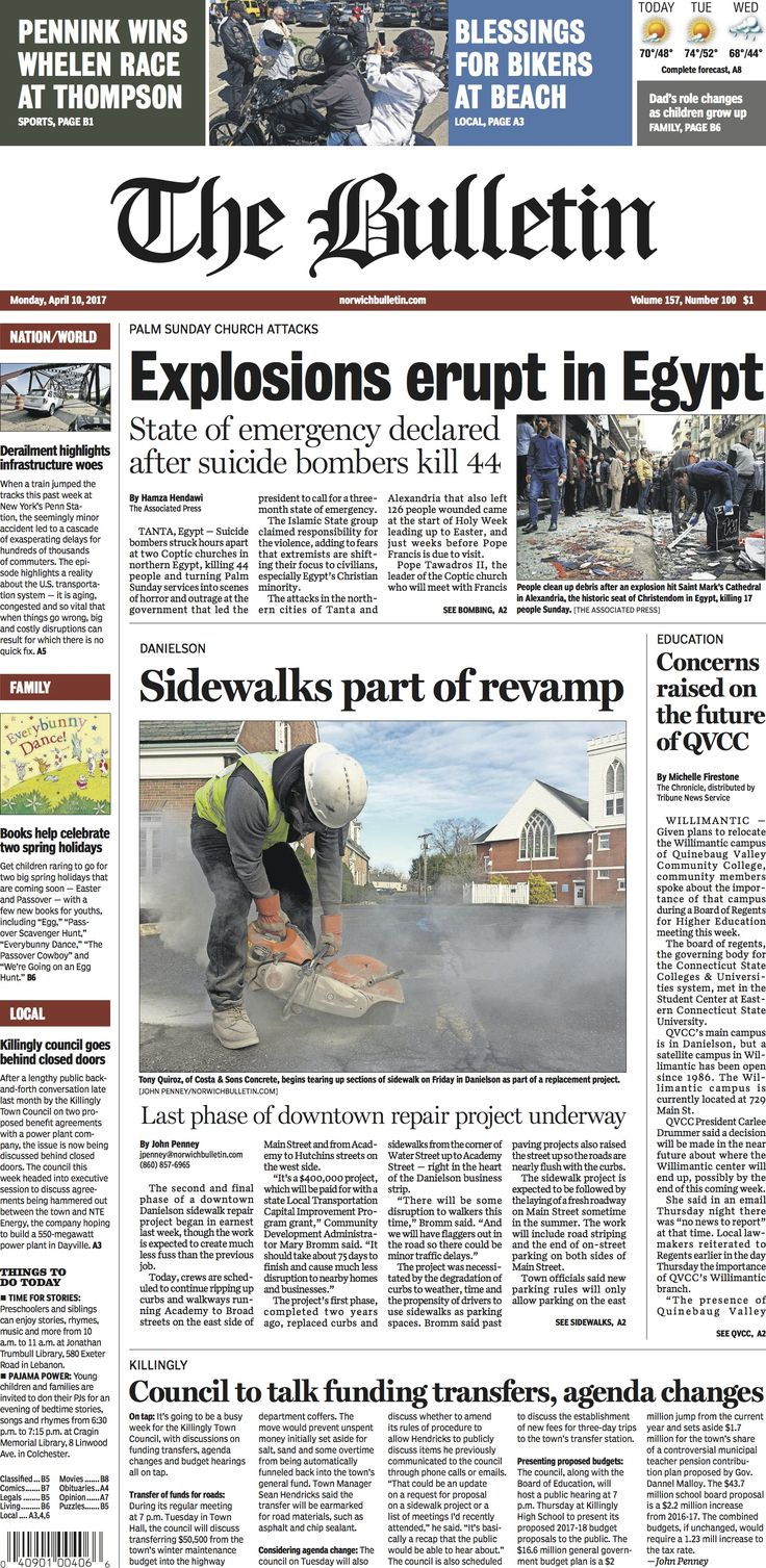 Monday, April 10, 2017 - Subscribe to The Bulletin today: http://www.norwichbulletin.com #ctnews #newlondoncounty #windhamcounty