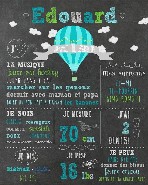 Affiche personnalisée 1er anniversaire Up!!! - chalkboard_FICHIER NUMÉRIQUE, fête 1 an, garçon, montgolfières, souvenir, smash the cake